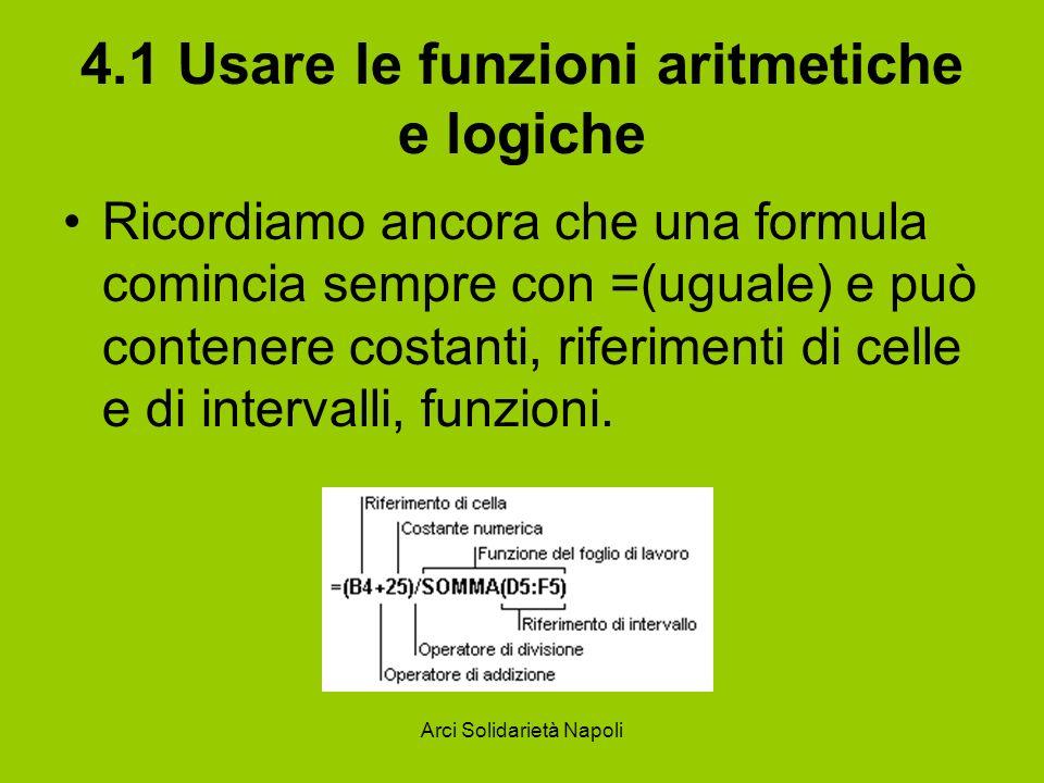 Arci Solidarietà Napoli 4.1 Usare le funzioni aritmetiche e logiche Ricordiamo ancora che una formula comincia sempre con =(uguale) e può contenere co