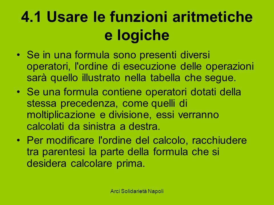 Arci Solidarietà Napoli 4.1 Usare le funzioni aritmetiche e logiche Se in una formula sono presenti diversi operatori, l'ordine di esecuzione delle op
