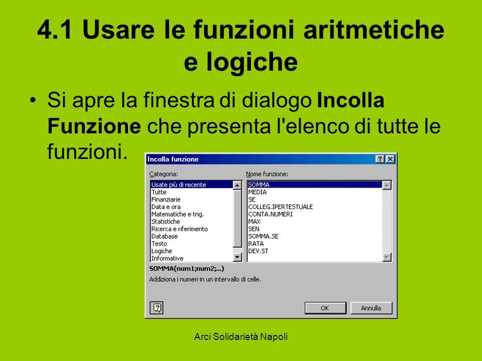 Arci Solidarietà Napoli 4.1 Usare le funzioni aritmetiche e logiche Si apre la finestra di dialogo Incolla Funzione che presenta l'elenco di tutte le