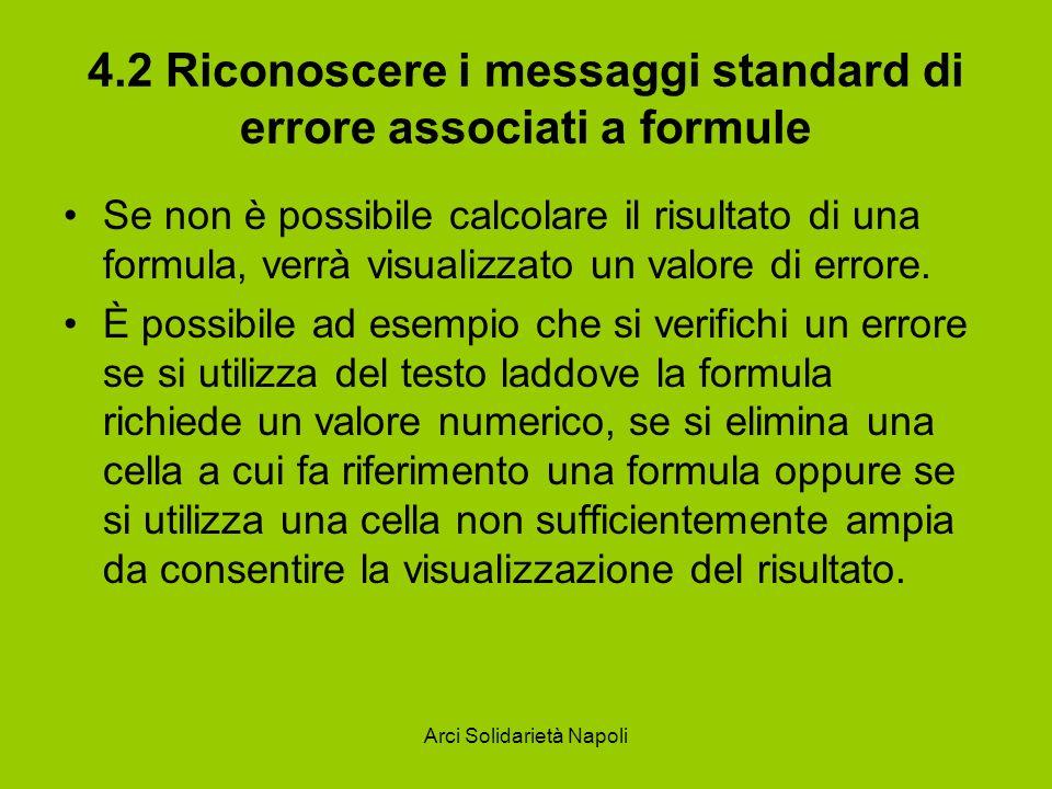 Arci Solidarietà Napoli 4.2 Riconoscere i messaggi standard di errore associati a formule Se non è possibile calcolare il risultato di una formula, ve