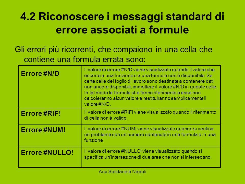 Arci Solidarietà Napoli 4.2 Riconoscere i messaggi standard di errore associati a formule Gli errori più ricorrenti, che compaiono in una cella che co