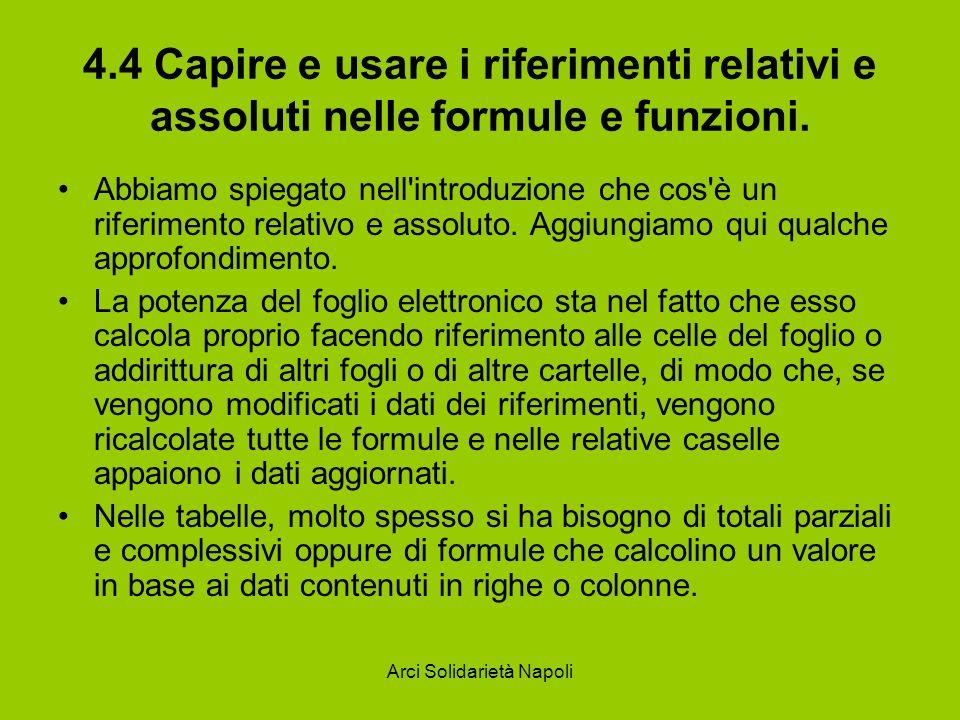 Arci Solidarietà Napoli 4.4 Capire e usare i riferimenti relativi e assoluti nelle formule e funzioni. Abbiamo spiegato nell'introduzione che cos'è un