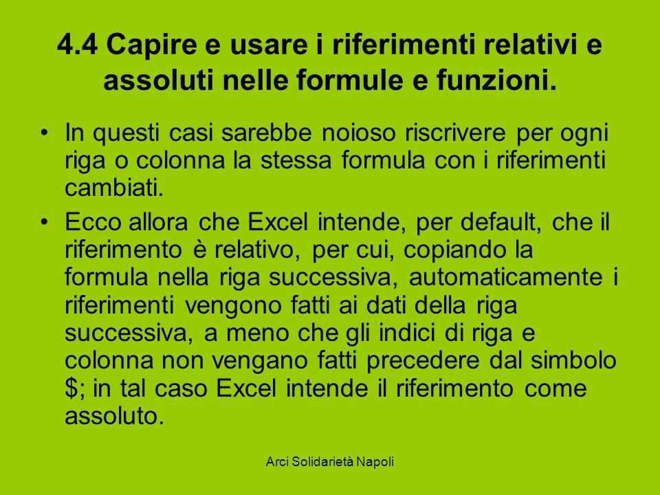 Arci Solidarietà Napoli 4.4 Capire e usare i riferimenti relativi e assoluti nelle formule e funzioni. In questi casi sarebbe noioso riscrivere per og