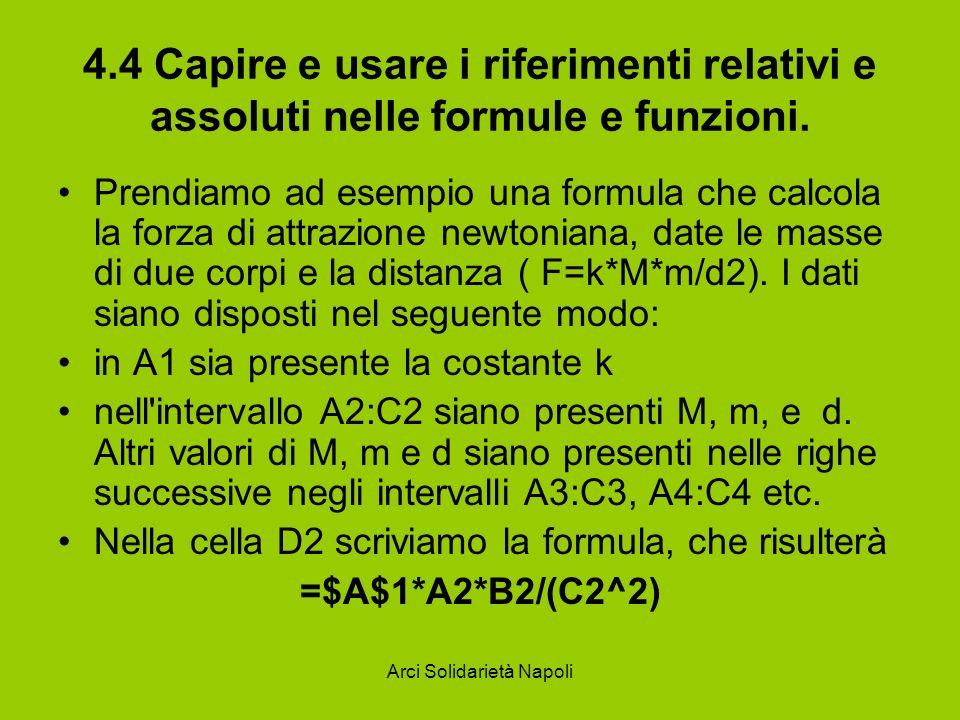 Arci Solidarietà Napoli 4.4 Capire e usare i riferimenti relativi e assoluti nelle formule e funzioni. Prendiamo ad esempio una formula che calcola la
