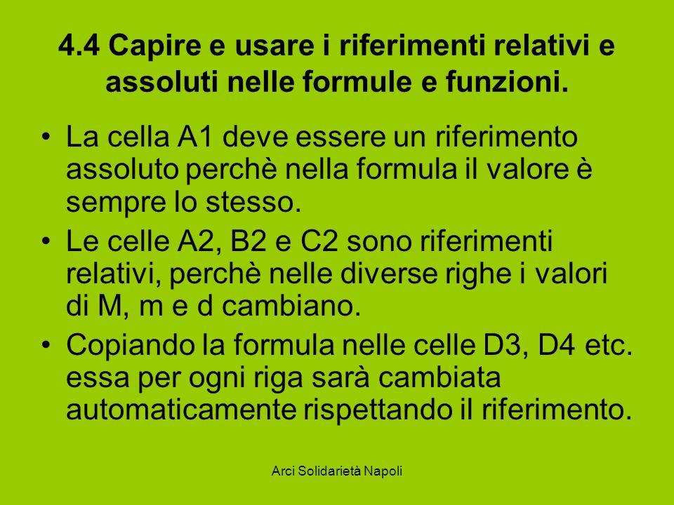 Arci Solidarietà Napoli 4.4 Capire e usare i riferimenti relativi e assoluti nelle formule e funzioni. La cella A1 deve essere un riferimento assoluto