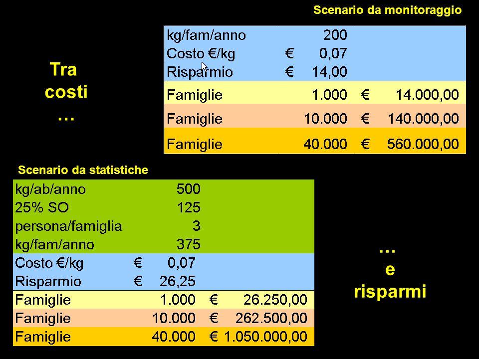 Scenario da monitoraggio Scenario da statistiche Tra costi … e risparmi