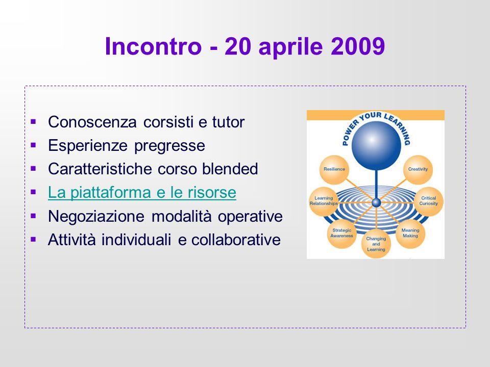 Incontro - 20 aprile 2009 Conoscenza corsisti e tutor Esperienze pregresse Caratteristiche corso blended La piattaforma e le risorse Negoziazione moda