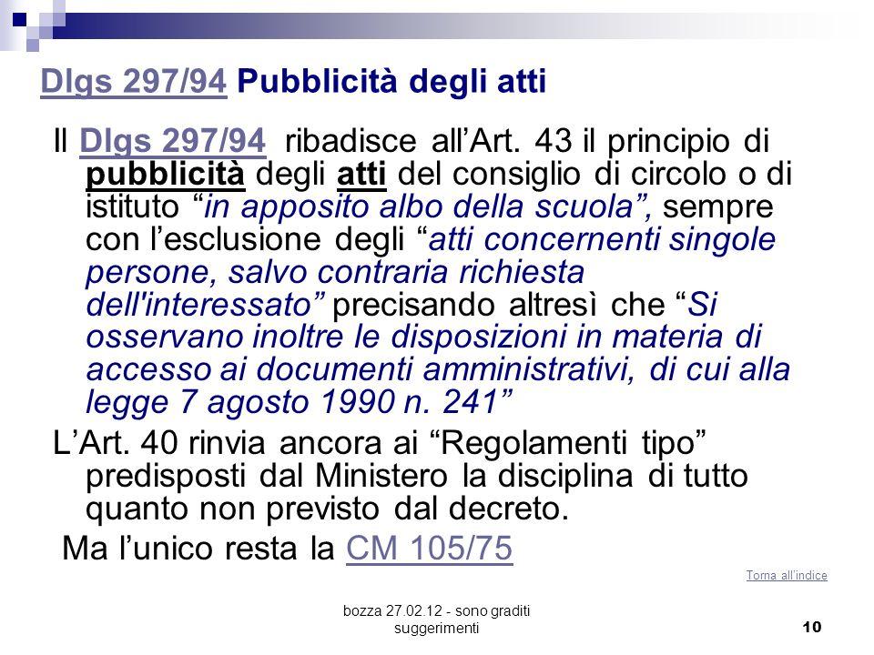 bozza 27.02.12 - sono graditi suggerimenti 10 Dlgs 297/94Dlgs 297/94 Pubblicità degli atti Il Dlgs 297/94 ribadisce allArt. 43 il principio di pubblic
