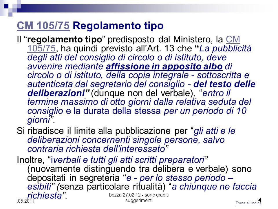 bozza 27.02.12 - sono graditi suggerimenti 4.05.2011 CM 105/75CM 105/75 Regolamento tipo Il regolamento tipo predisposto dal Ministero, la CM 105/75,