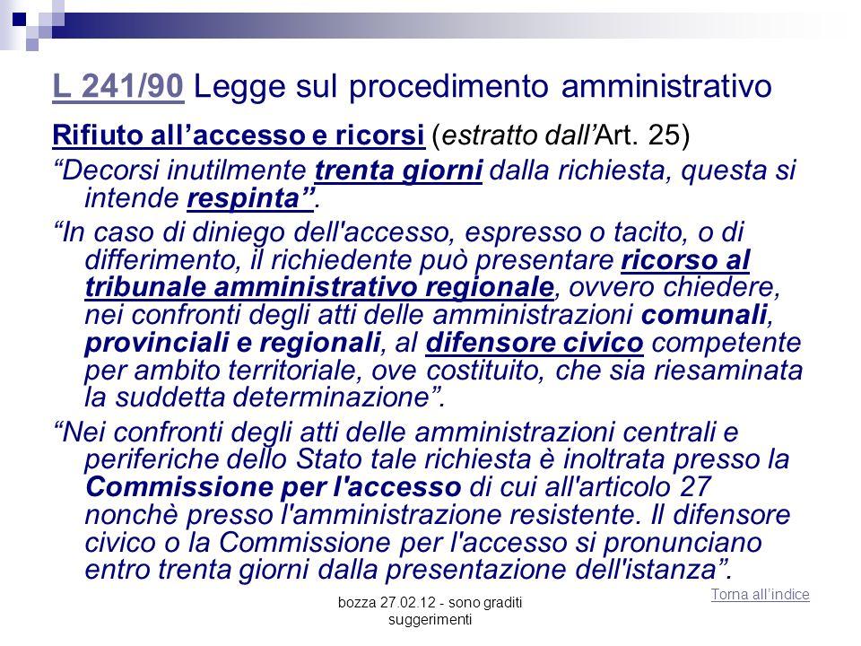 bozza 27.02.12 - sono graditi suggerimenti L 241/90L 241/90 Legge sul procedimento amministrativo Rifiuto allaccesso e ricorsi (estratto dallArt. 25)