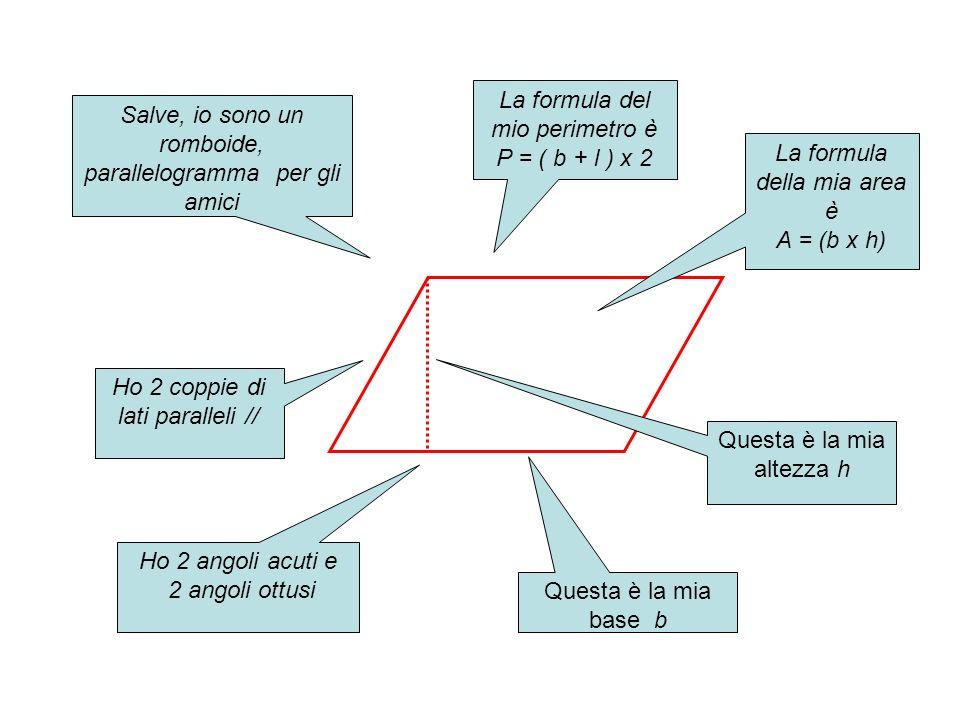 Salve, io sono un romboide, parallelogramma per gli amici Ho 2 coppie di lati paralleli // Ho 2 angoli acuti e 2 angoli ottusi Questa è la mia base b