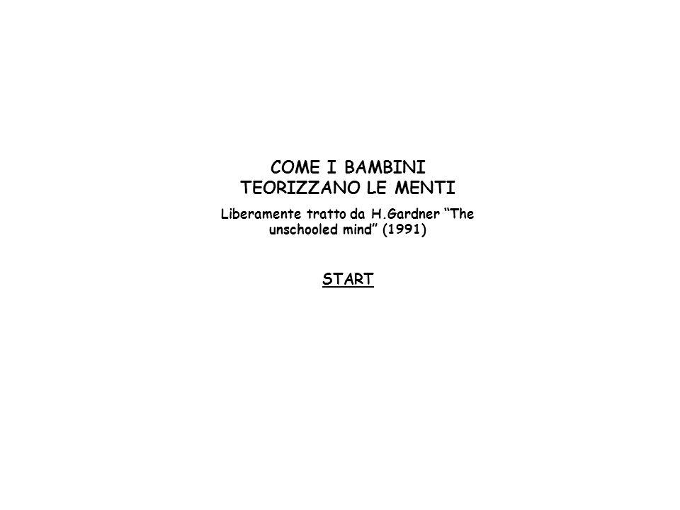 COME I BAMBINI TEORIZZANO LE MENTI Liberamente tratto da H.Gardner The unschooled mind (1991) START