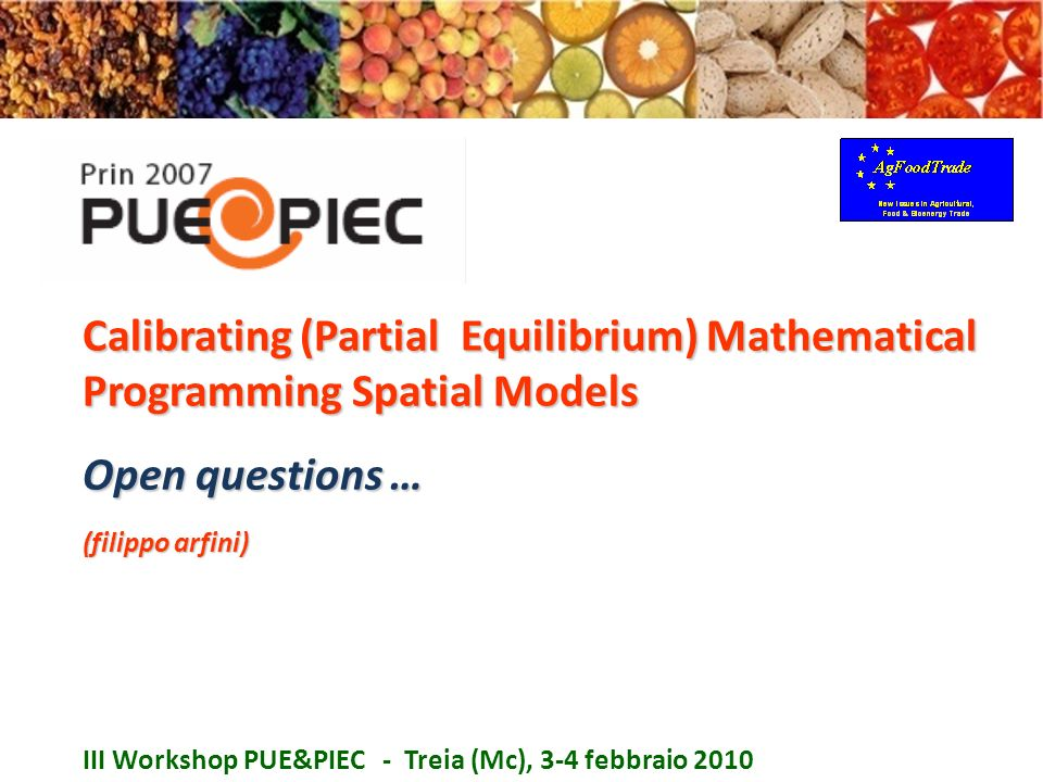 Calibrating (Partial Equilibrium) Mathematical Programming Spatial Models Open questions … (filippo arfini) III Workshop PUE&PIEC - Treia (Mc), 3-4 fe