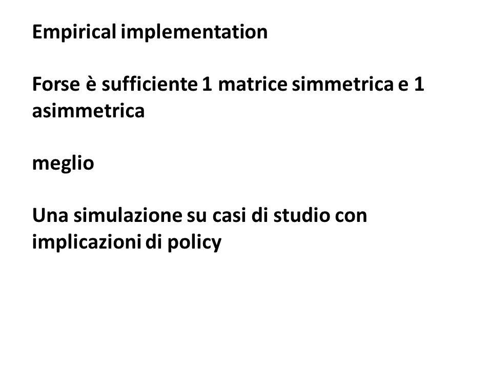 Empirical implementation Forse è sufficiente 1 matrice simmetrica e 1 asimmetrica meglio Una simulazione su casi di studio con implicazioni di policy