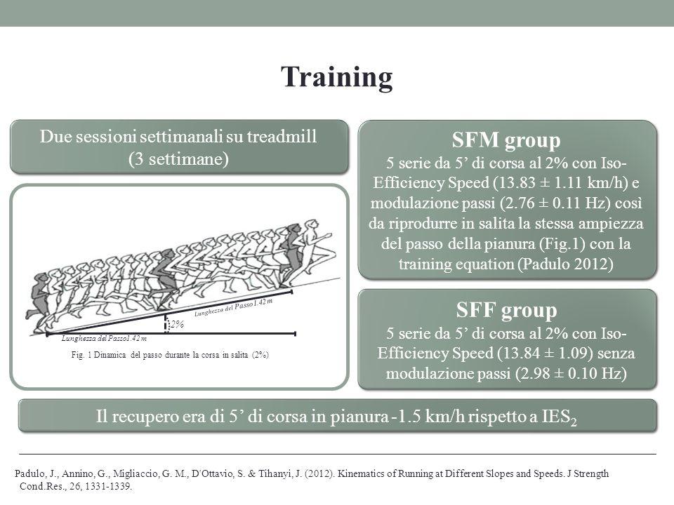 Lunghezza del Passo1.42 m 2% Fig. 1 Dinamica del passo durante la corsa in salita (2%) Training Due sessioni settimanali su treadmill (3 settimane) Du