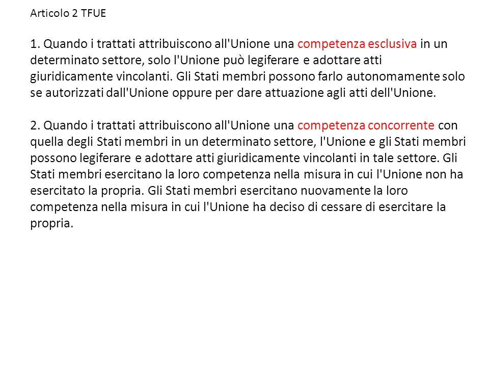 Articolo 2 TFUE 1.