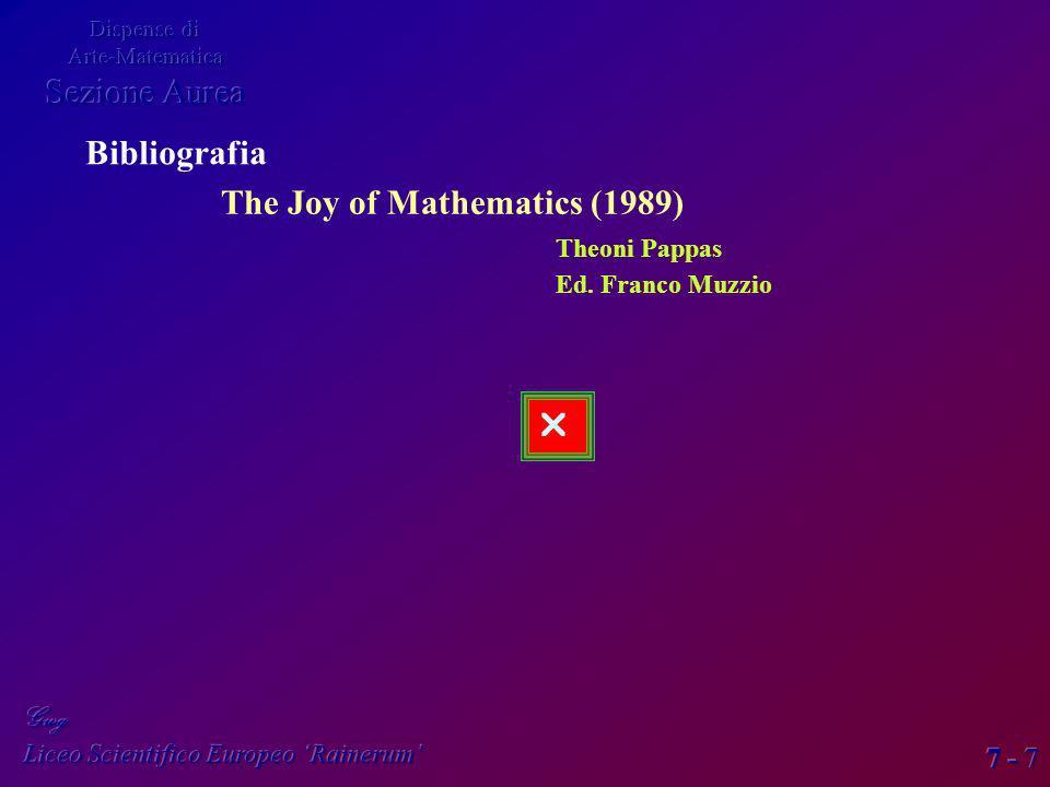7 - 7 Bibliografia The Joy of Mathematics (1989) Theoni Pappas Ed. Franco Muzzio