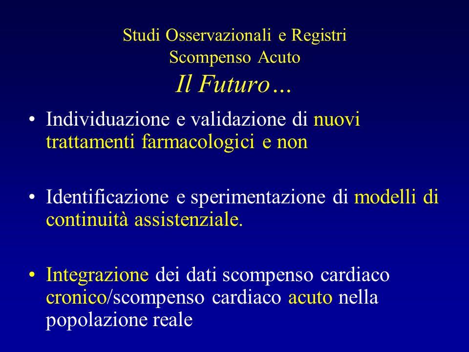 Studi Osservazionali e Registri Scompenso Acuto Il Futuro… Individuazione e validazione di nuovi trattamenti farmacologici e non Identificazione e spe