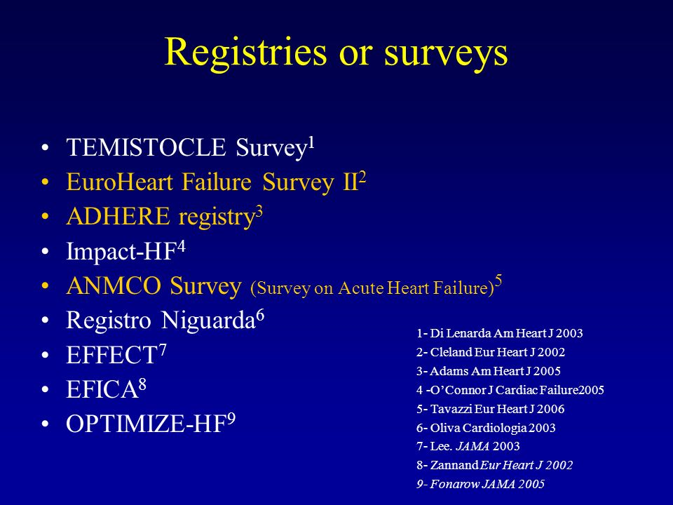 SCREENING 2807 consecutive patients admitted with a diagnosis of acute HF from March 1 to May 31, 2005 in 206 cardiology with ICU STUDY POPULATION INCLUSION CRITERIA NYHA III-IV Class (in AMI patients Killip class III-IV) or pulmonary edema or cardiogenic shock Intravenous drug therapy S urvey on A CUTE H EART F AILURE Tavazzi et al.