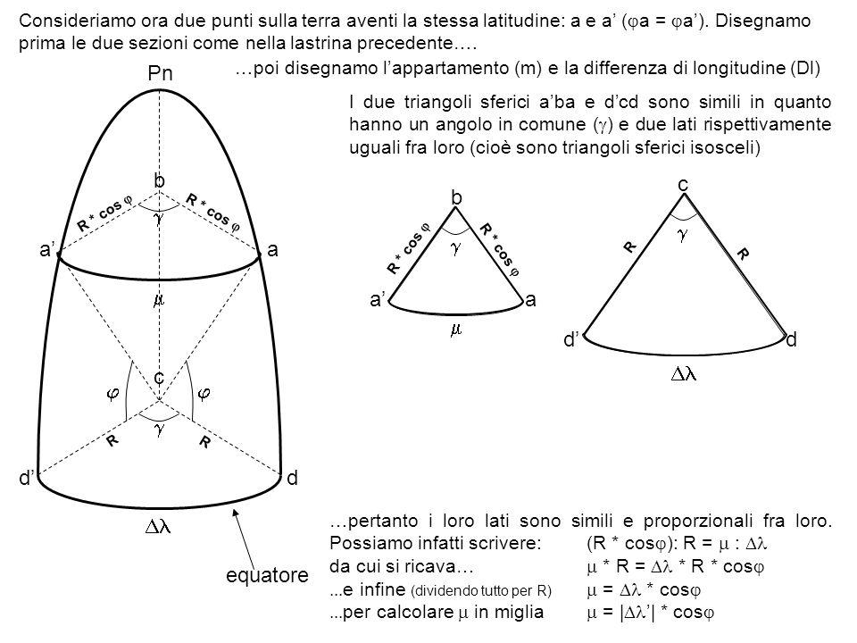 Consideriamo ora due punti sulla terra aventi la stessa latitudine: a e a ( a = a). Disegnamo prima le due sezioni come nella lastrina precedente…. eq