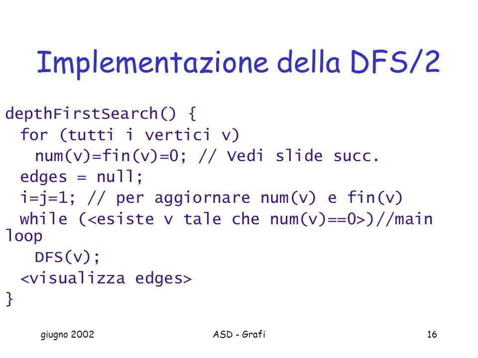 giugno 2002ASD - Grafi16 Implementazione della DFS/2 depthFirstSearch() { for (tutti i vertici v) num(v)=fin(v)=0; // Vedi slide succ.