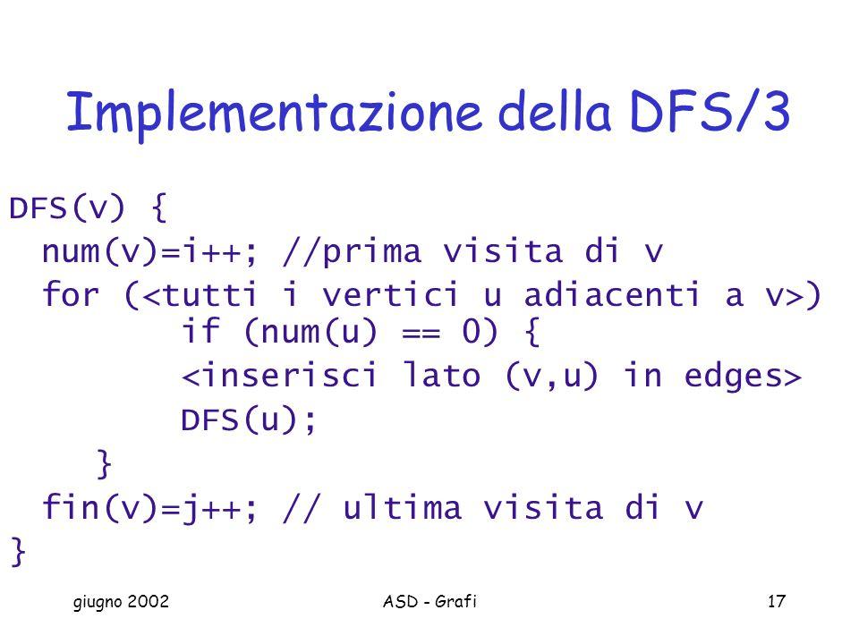giugno 2002ASD - Grafi17 Implementazione della DFS/3 DFS(v) { num(v)=i++; //prima visita di v for ( ) if (num(u) == 0) { DFS(u); } fin(v)=j++; // ultima visita di v }