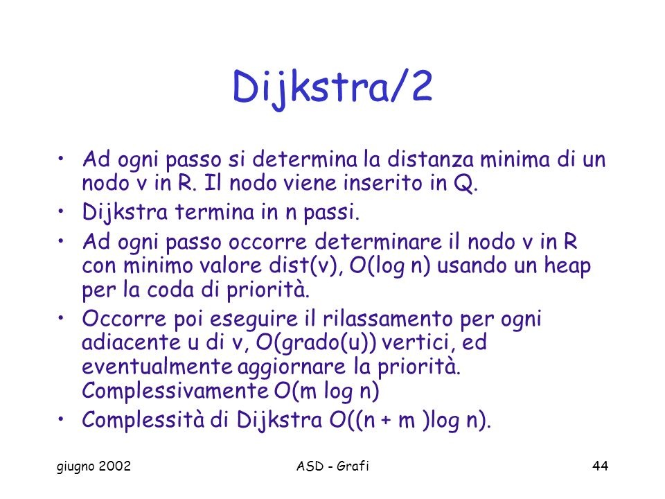 giugno 2002ASD - Grafi44 Dijkstra/2 Ad ogni passo si determina la distanza minima di un nodo v in R.