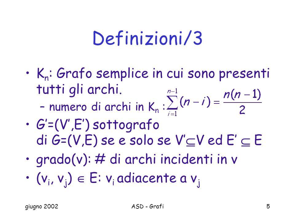 giugno 2002ASD - Grafi5 Definizioni/3 K n : Grafo semplice in cui sono presenti tutti gli archi.