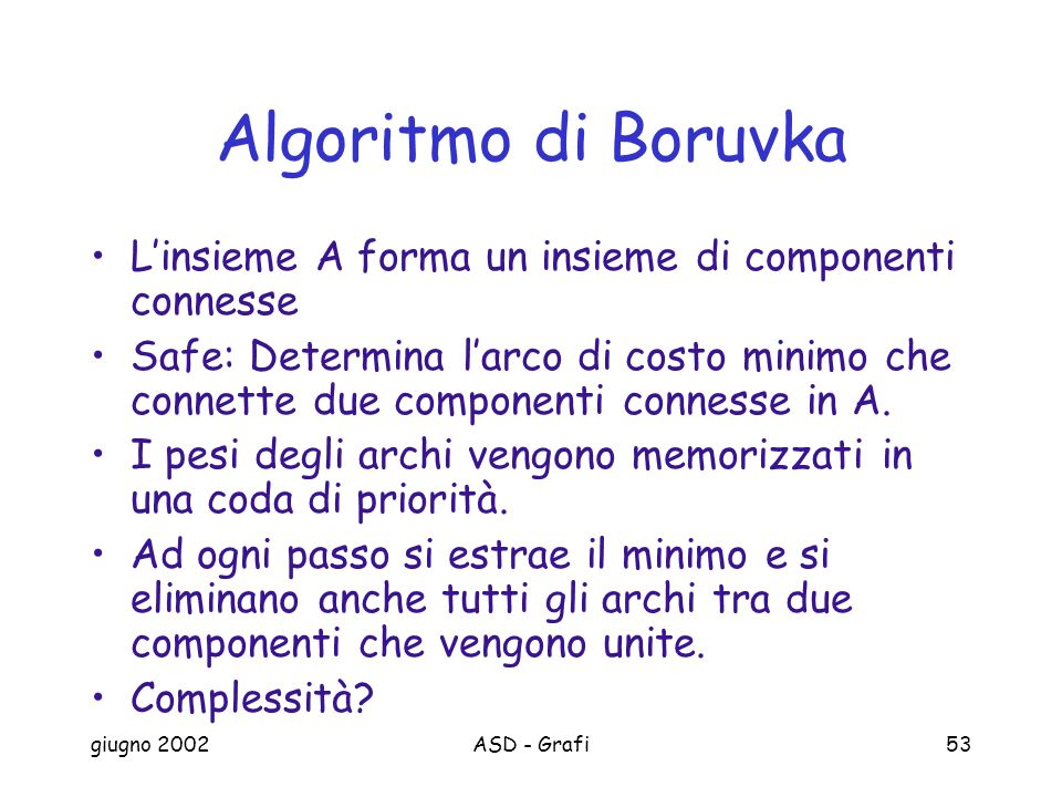 giugno 2002ASD - Grafi53 Algoritmo di Boruvka Linsieme A forma un insieme di componenti connesse Safe: Determina larco di costo minimo che connette due componenti connesse in A.