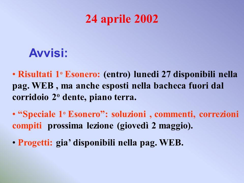 24 aprile 2002 Avvisi: Risultati 1 o Esonero: (entro) lunedi 27 disponibili nella pag. WEB, ma anche esposti nella bacheca fuori dal corridoio 2 o den