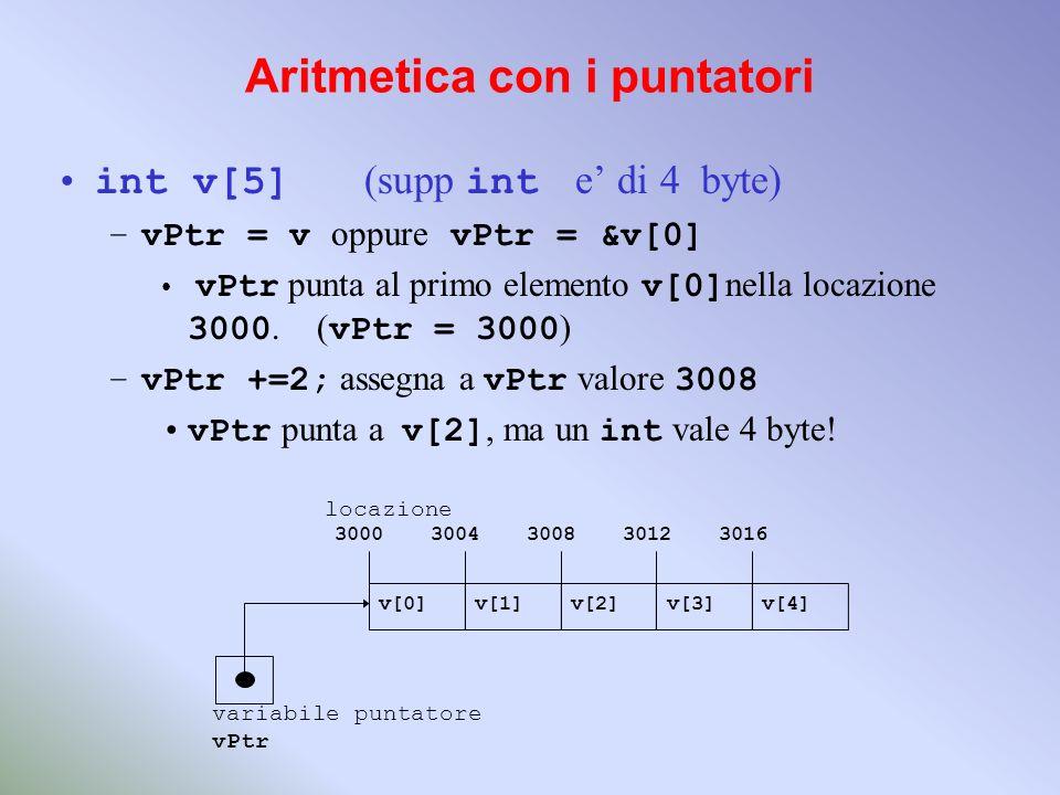 Aritmetica con i puntatori int v[5] (supp int e di 4 byte) –vPtr = v oppure vPtr = &v[0] vPtr punta al primo elemento v[0] nella locazione 3000. ( vPt