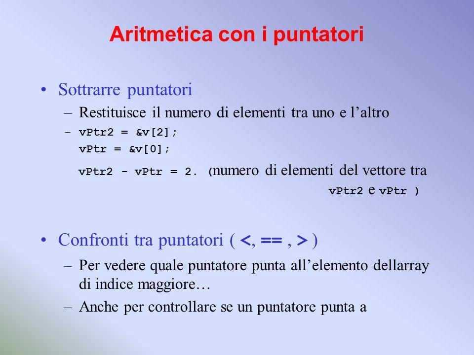 Aritmetica con i puntatori Sottrarre puntatori –Restituisce il numero di elementi tra uno e laltro –vPtr2 = &v[2]; vPtr = &v[0]; vPtr2 - vPtr = 2. ( n