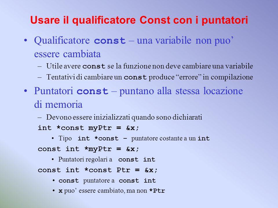 Usare il qualificatore Const con i puntatori Qualificatore const – una variabile non puo essere cambiata –Utile avere const se la funzione non deve ca