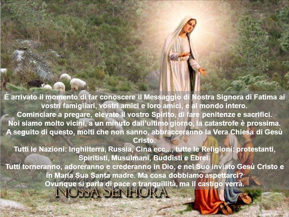 È arrivato il momento di far conoscere il Messaggio di Nostra Signora di Fatima ai vostri famigliari, vostri amici e loro amici, e al mondo intero. Co
