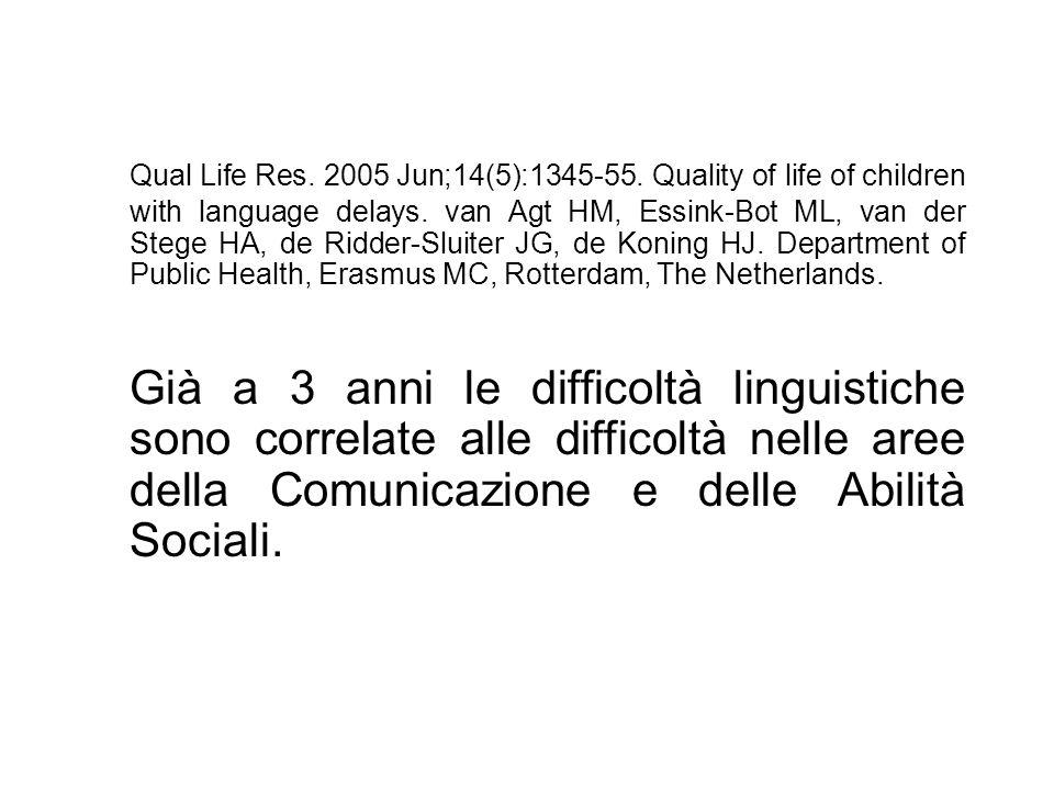 Qual Life Res. 2005 Jun;14(5):1345-55. Quality of life of children with language delays. van Agt HM, Essink-Bot ML, van der Stege HA, de Ridder-Sluite