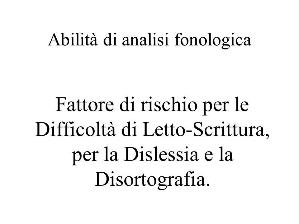 Abilità di analisi fonologica Fattore di rischio per le Difficoltà di Letto-Scrittura, per la Dislessia e la Disortografia.
