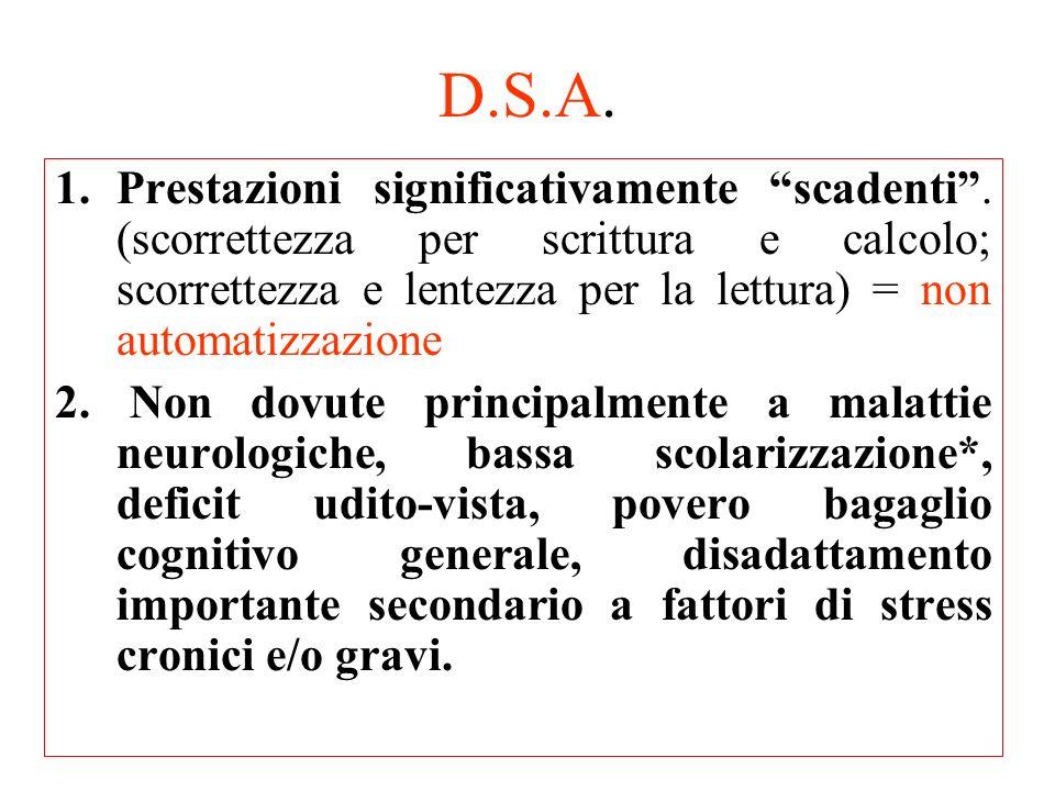 D.S.A. 1.Prestazioni significativamente scadenti. (scorrettezza per scrittura e calcolo; scorrettezza e lentezza per la lettura) = non automatizzazion
