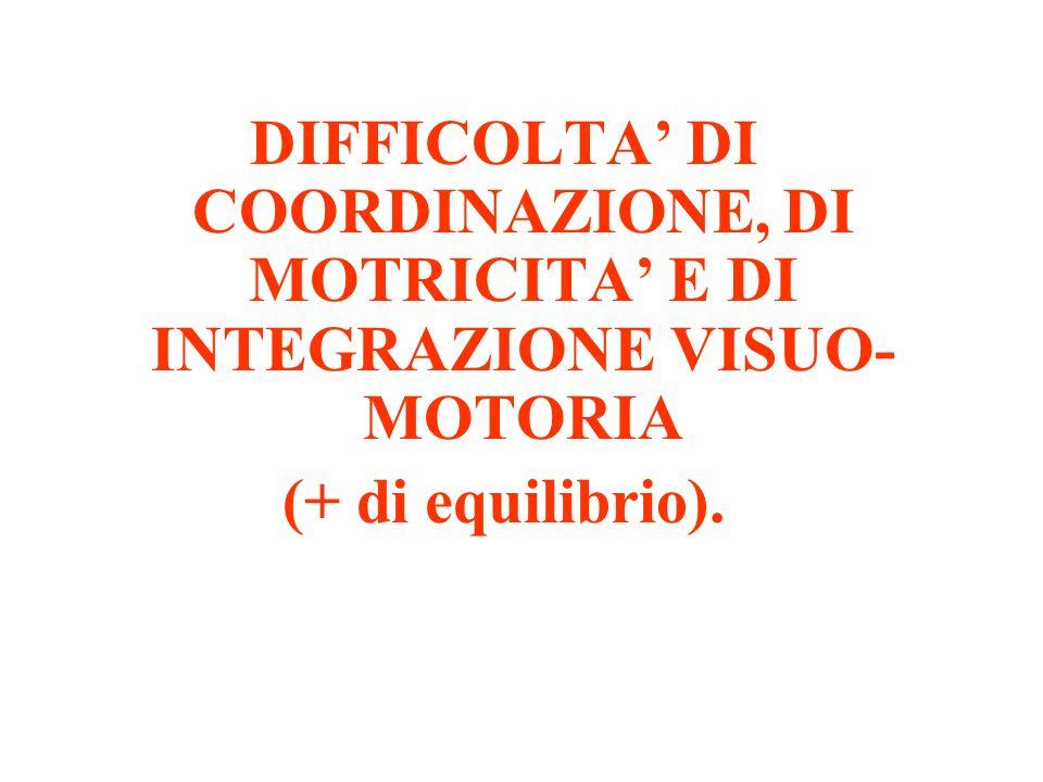 DIFFICOLTA DI COORDINAZIONE, DI MOTRICITA E DI INTEGRAZIONE VISUO- MOTORIA (+ di equilibrio).