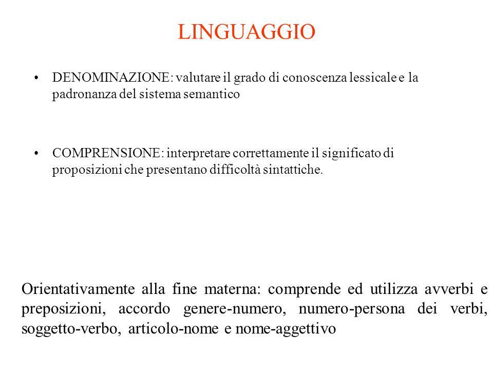 LINGUAGGIO DENOMINAZIONE: valutare il grado di conoscenza lessicale e la padronanza del sistema semantico COMPRENSIONE: interpretare correttamente il