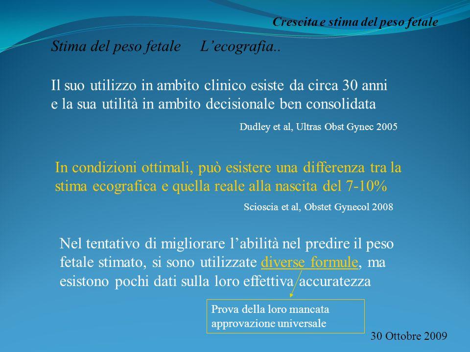 30 Ottobre 2009 Crescita e stima del peso fetale Stima del peso fetale Lecografia.. Il suo utilizzo in ambito clinico esiste da circa 30 anni e la sua