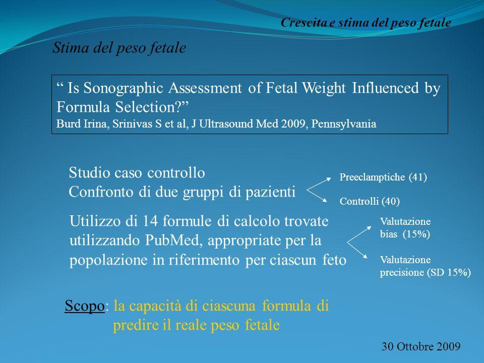 30 Ottobre 2009 Crescita e stima del peso fetale Stima del peso fetale Is Sonographic Assessment of Fetal Weight Influenced by Formula Selection.