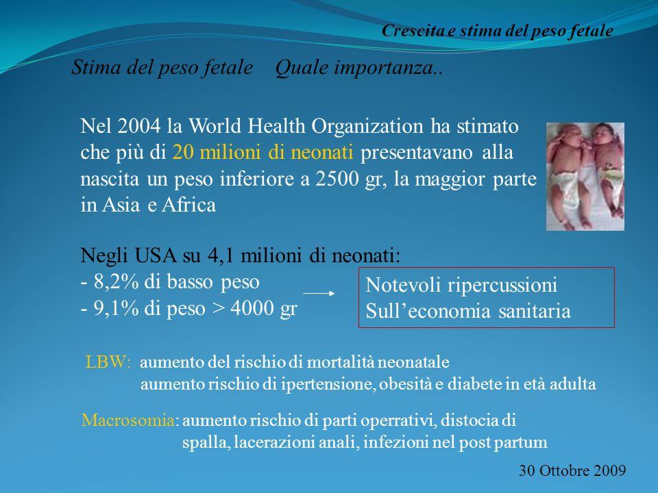 30 Ottobre 2009 Crescita e stima del peso fetale Stima del peso fetale Quale importanza.. Nel 2004 la World Health Organization ha stimato che più di