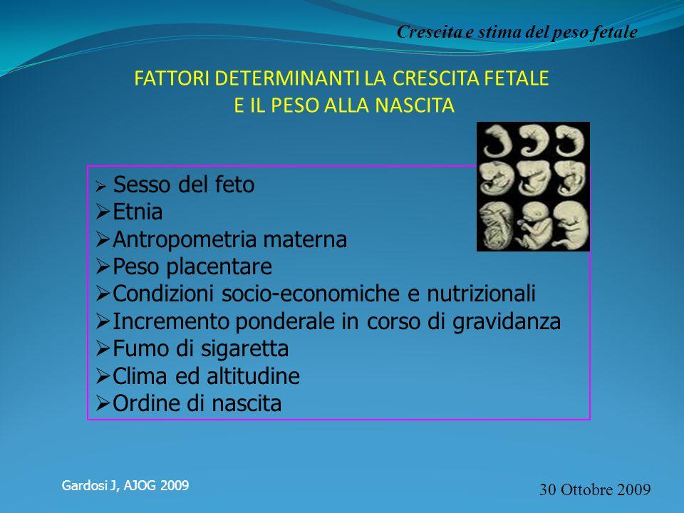 30 Ottobre 2009 Crescita e stima del peso fetale FATTORI DETERMINANTI LA CRESCITA FETALE E IL PESO ALLA NASCITA Sesso del feto Etnia Antropometria mat
