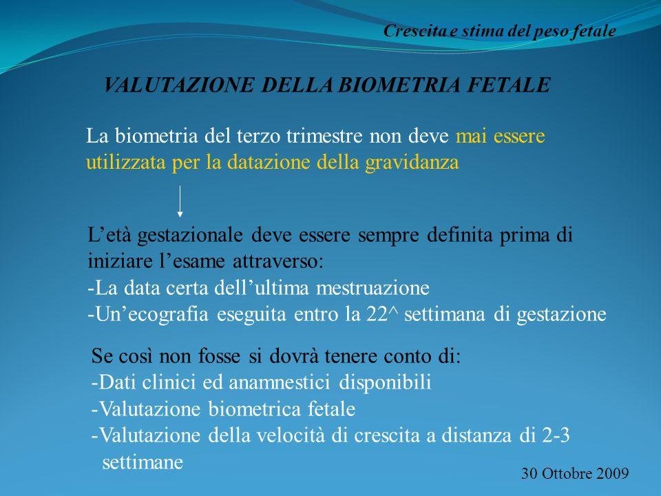 30 Ottobre 2009 Crescita e stima del peso fetale VALUTAZIONE DELLA BIOMETRIA FETALE La biometria del terzo trimestre non deve mai essere utilizzata pe