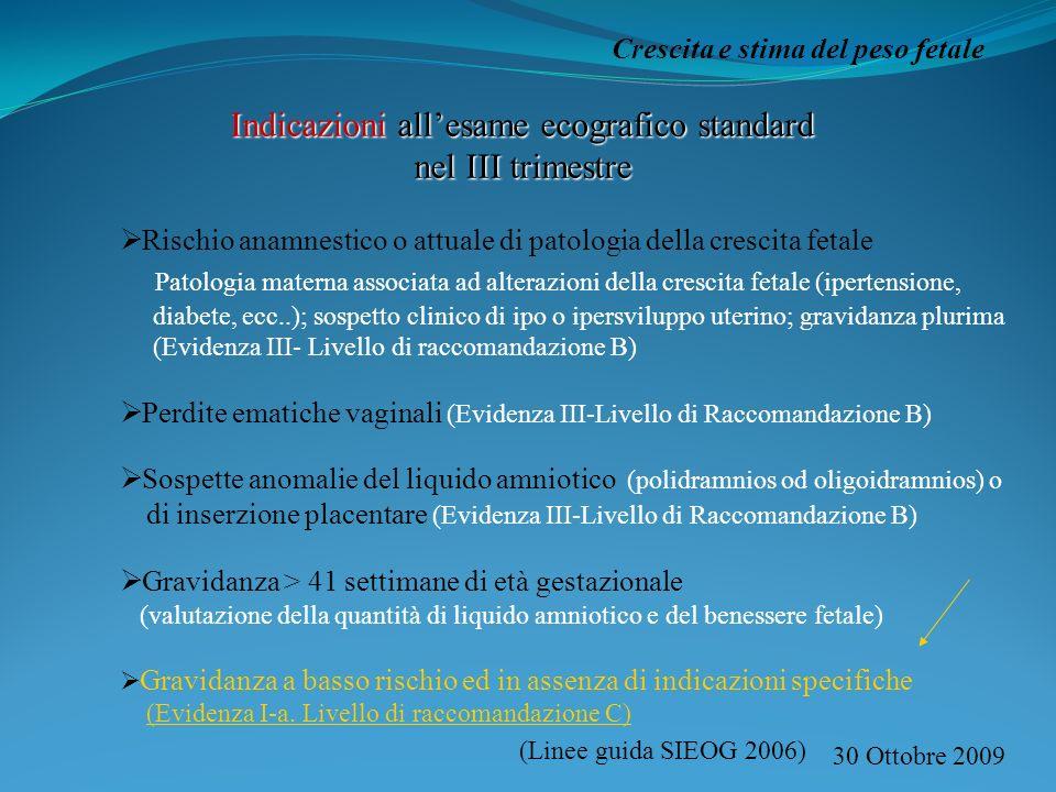 30 Ottobre 2009 Crescita e stima del peso fetale Indicazioni allesame ecografico standard nel III trimestre Rischio anamnestico o attuale di patologia