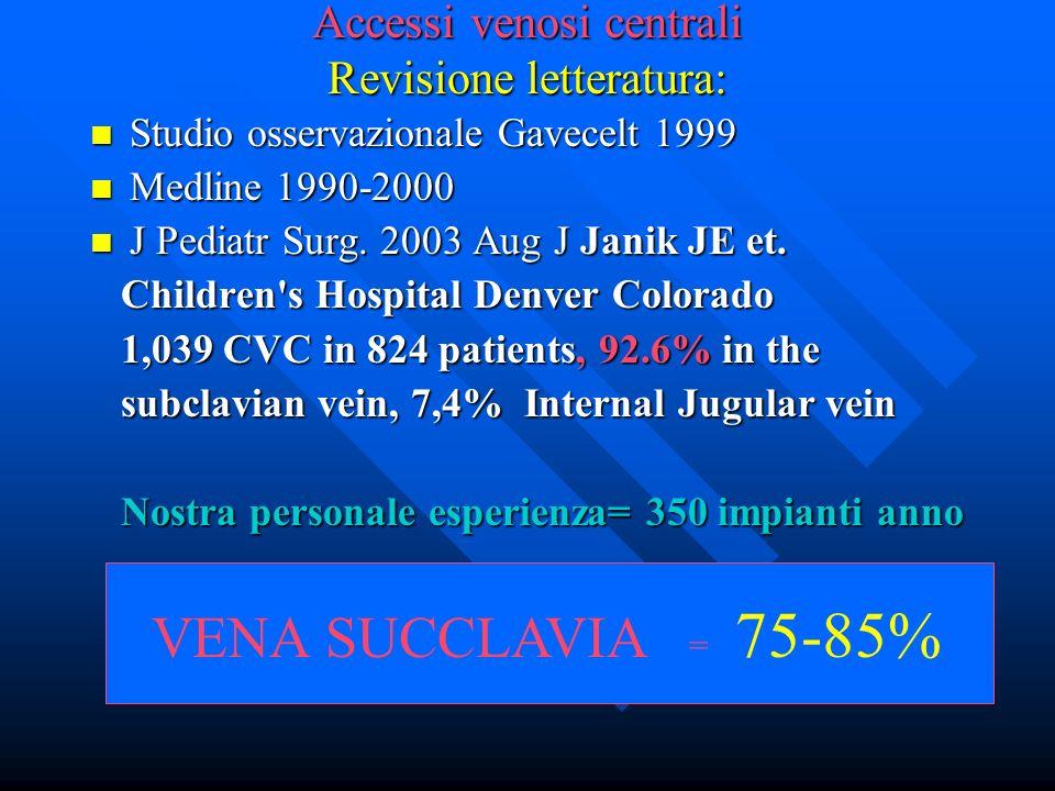 Accessi venosi centrali Revisione letteratura: Studio osservazionale Gavecelt 1999 Studio osservazionale Gavecelt 1999 Medline 1990-2000 Medline 1990-