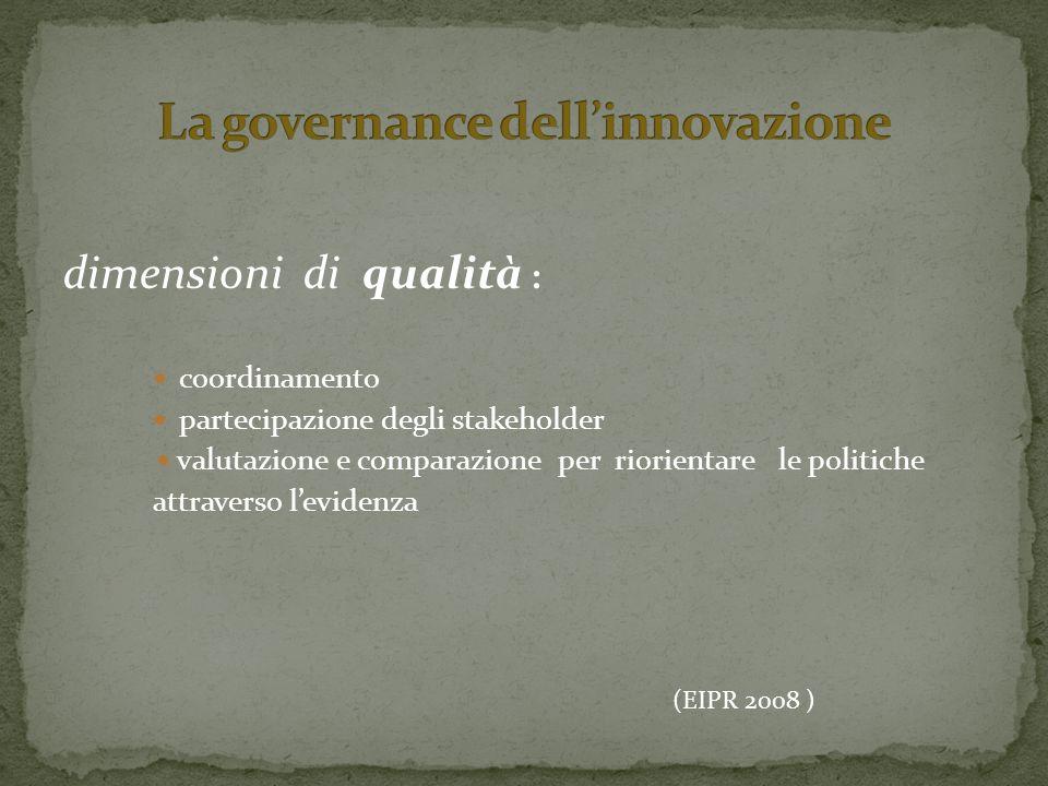 dimensioni di qualità : coordinamento partecipazione degli stakeholder valutazione e comparazione per riorientare le politiche attraverso levidenza (EIPR 2008 )