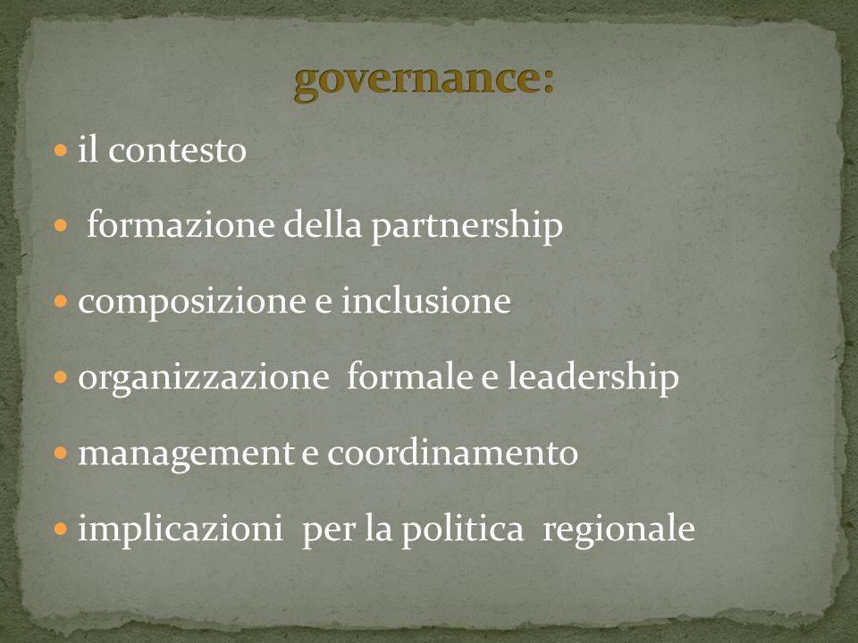 il contesto formazione della partnership composizione e inclusione organizzazione formale e leadership management e coordinamento implicazioni per la politica regionale