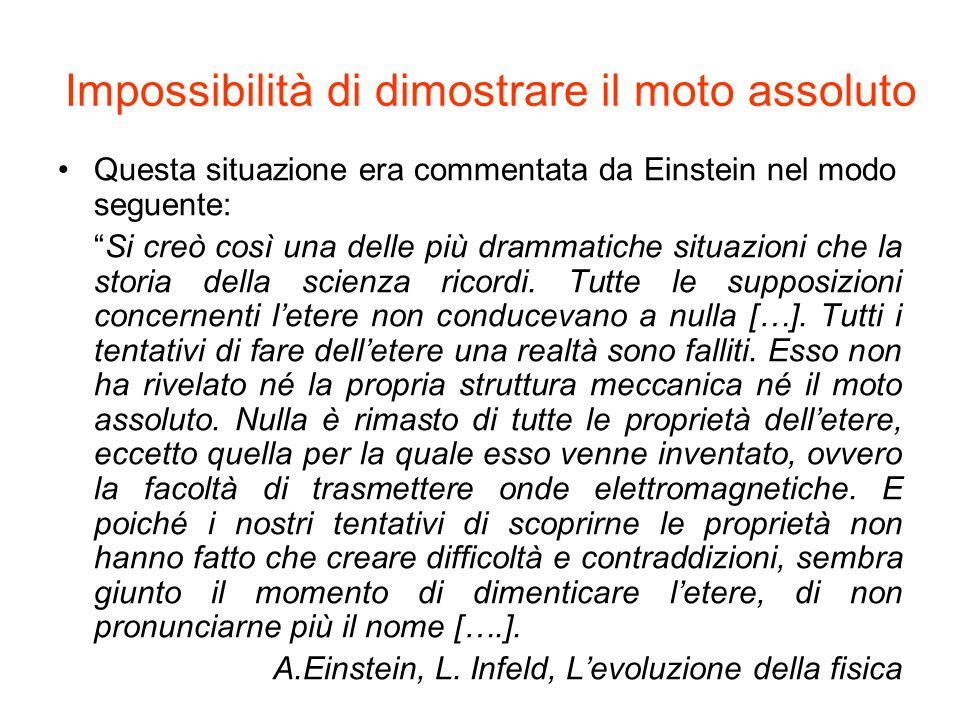 Impossibilità di dimostrare il moto assoluto Questa situazione era commentata da Einstein nel modo seguente: Si creò così una delle più drammatiche si