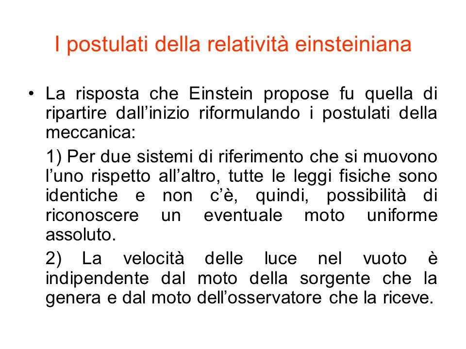 I postulati della relatività einsteiniana La risposta che Einstein propose fu quella di ripartire dallinizio riformulando i postulati della meccanica: